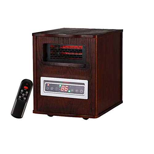 KOOLWOOM Portable Electrci Space Heater Infrared Zone Heating Systems with Thermostat for Office and Home,Tip-Over and overheat Protection Remote Control 12hr Timer & Filter 1000W-1500W Dark Walnut
