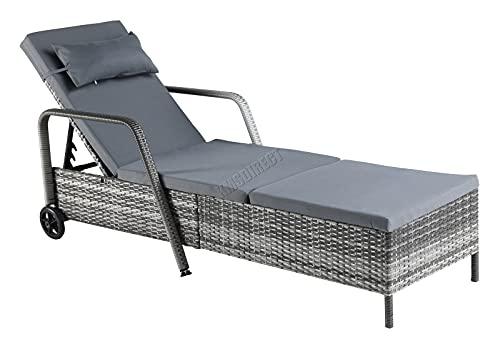 BIRCHTREE Rattan Day Chair Recliner Sun Bed Lounger Wicker Outdoor Garden Furniture Terrace Patio SRL01 Grey