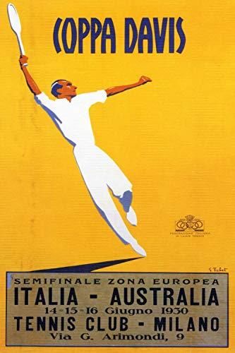 KEAPSIGN - Targa in metallo retrò classico con scritta 'Coppa Davis Vintage Milan Tennis Cup Promozionale' - Cartello vintage classico decorazione da parete 20 x 30 cm