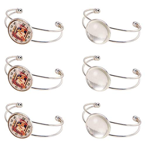 SUNNYCLUE 12pcs Cabochon Bracelet Setting Blank Making Kit Include 6pcs Adjustable Cuff Bangles Bezel Tray & 6pcs 20mm Round Clear Cabochon Glass Dome Photo Jewellery Accessories for Men Women, Silver