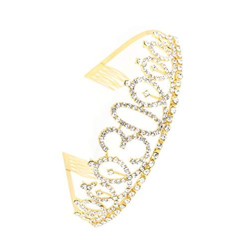 Uonlytech Coroas de aniversário de 30 anos, coroa de 30 anos, coroa de 30 anos para mulheres, fantasia de aniversário de strass de metal dourado para meninas