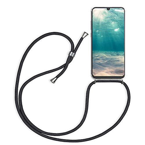 Ptny Handykette kompatibel mit Huawei Y5 2018 Smartphone Necklace Hülle mit Band, Schnur mit Hülle zum umhängen Stylische Kordel Kette, Kristallklare Handyhülle zum Umhängen in Schwarz