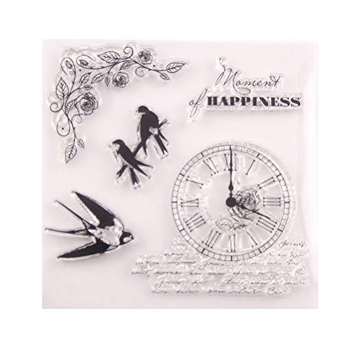 HEALLILY - Sello de silicona transparente para manualidades, álbumes de recortes, manualidades, con flores, palabras de felicitación para hacer tarjetas, álbumes de recortes, decoración de diario