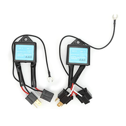 Decodificador de errores de faros delanteros LED para automóvil, Fydun 2 piezas Decodificador LED sin errores Iluminación del automóvil para convertidor de polaridad H4 Eliminación de fallas