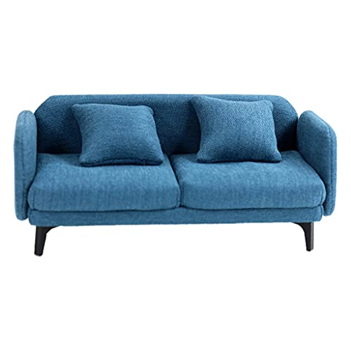 perfeclan Sofá de casa de muñecas en Miniatura 1/12 sofá Doble de casa de muñecas con cojín Trasero Muebles de casa de muñecas sofá Juguete de simulación para - Azul