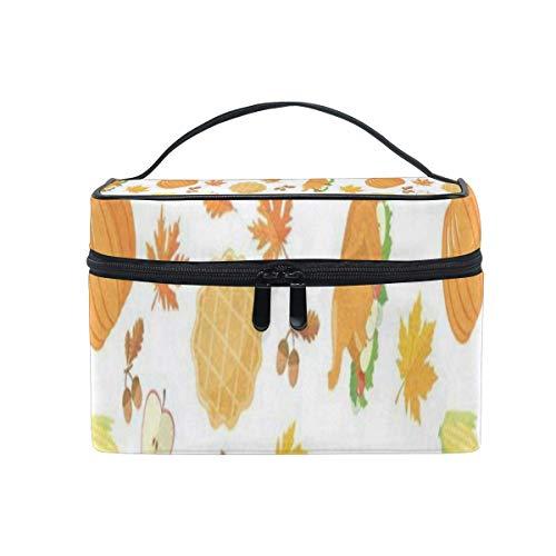 Trousse de maquillage Automne Feuille d'érable Orange Citrouille Sac cosmétique Portable Grand Trousse de toilette pour femmes/filles Voyage