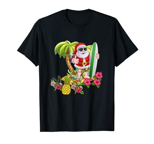 Christmas in July Santa Hawaiian Surfing T Shirt Summer Surf T-Shirt