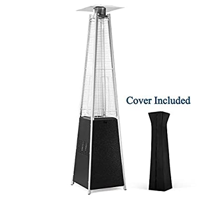 PAMAPIC Patio Heater, 42,000 BTU Quartz Glass Tube Hammered Sliver Gray Gas Outdoor Heater with Wheels and Cover