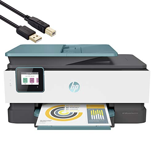 HP OfficeJet Pro 8000 Series All-in-One Instant Ink Ready Inkjet Printer - 4-in-1 Print, Scan, Copy, Fax for Business Office - WiFi and Cloud-Based Wireless Printing - Blue - BROAGE 5FT Printer Cable