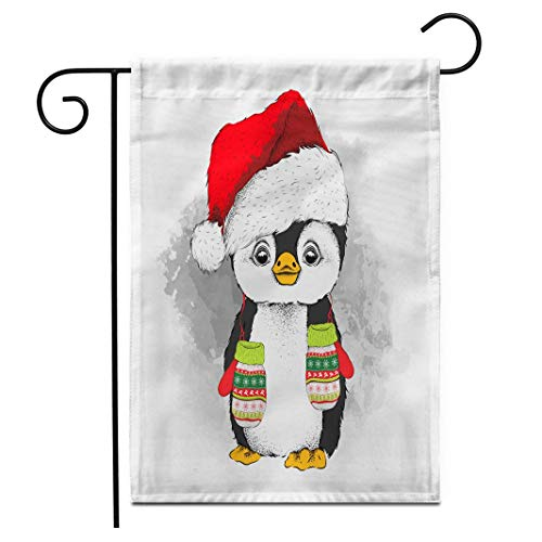 12,5 'x 18' Gartenflagge Pinguin Weihnachtsmütze mit Handschuhen Helle Karikatur Weihnachtsfarbe Süße Zeichnung Ethnische Outdoor Doppelseitige dekorative Haus Hof Flaggen