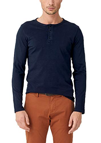 s.Oliver Herren 13.909.31.6715 Langarmshirt, Blau (Fresh Ink 5952), Large (Herstellergröße: L)