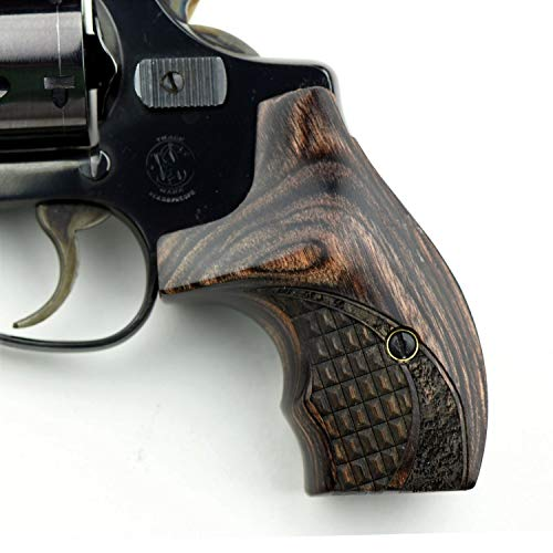 Altamont - S&W J Round Revolver Grips - Boot - Real Wood Gun Grips fit Smith & Wesson J Frame Round Butt .38 Special and 9mm Revolvers - Made in USA - Walnut - Croc