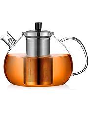 ecooe Theepot glas theemaker 1500-2000ml met afneembare roestvrijstalen zeef glazen kan verwarmen op het fornuis