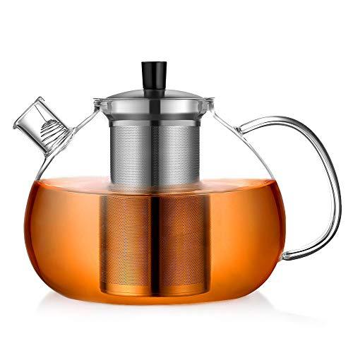 ecooe Original 2000ml Teekanne aus Glas Borosilikat Glas Teebereiter mit Abnehmbare 18/8 Edelstahl-Sieb Rostfrei Hitzebeständig für schwarzen Tee grüner Tee Fruchttee duftender Tee und Teebeutel