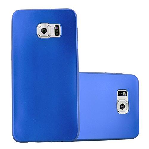 Preisvergleich Produktbild Cadorabo Hülle für Samsung Galaxy S6 Edge - Hülle in METALLIC BLAU Handyhülle aus TPU Silikon im Matt Metallic Design - Silikonhülle Schutzhülle Ultra Slim Soft Back Cover Case Bumper