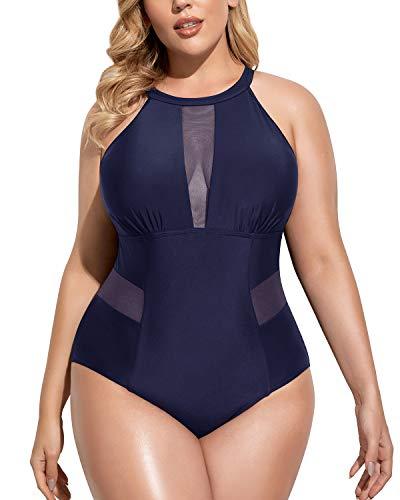 Daci Navy Blue Plus Size One Piece Swimsuits for Women High Neck Plunge Mesh Cutout Monokini Swimwear Large