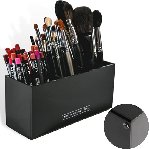 N2 Makeup Co Makeup Brush Holder Organizer - Multiple Slot Acrylic Cosmetics Brushes Storage Solution (3 Slot Holder)