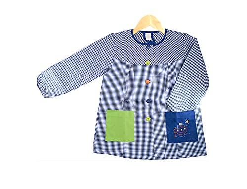Hipex Collection Bata Escolar con bolsillos de tela 75% Poliester 25% algodón,Babi guarderia, mandilon colegial con botones