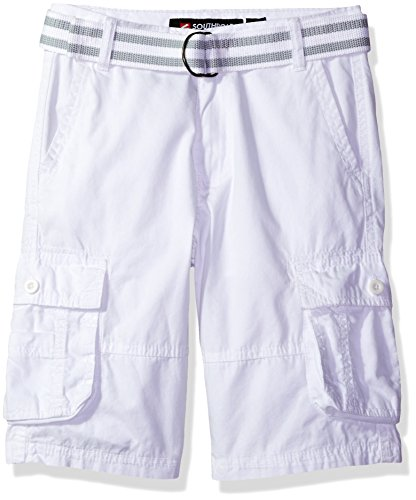 Southpole  Boys' Belted Mini Canvas Cargo Shorts in Various Colors, White, 18