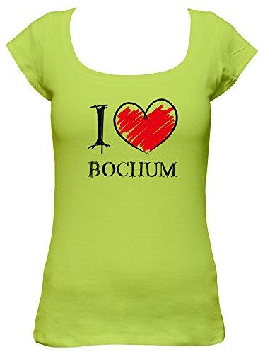 I Love Bochum Fun Damen Boat Neck T-Shirt, Größe:XL;Farbe:mintgrün
