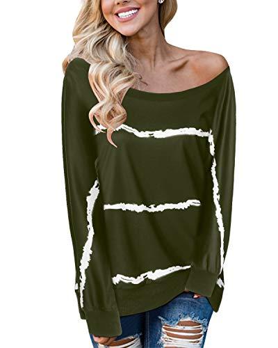 YOINS Pulli Damen Langarmshirt Sweatshirt mit Streifen Rundhals Ausschnitt Oversize Hemd, Armee Grün, Gr.- M/ 40-42