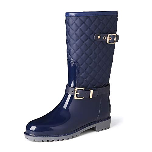 gracosy Botas de Lluvia Mujer Alta Goma Agua Botas al Aire Libre Moda Impermeable Lingge Zapatos de Jardín Wellington Boots Antideslizante Negro Azul