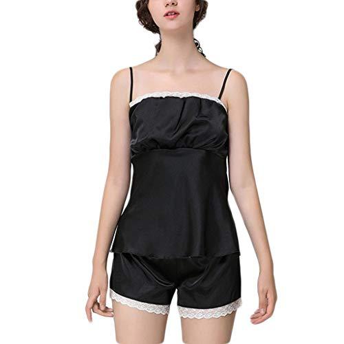 Feytuo 2pc Damen Nachtwäsche Sexy Schlafanzüge Ouvert Nachtkleid Spitze V-Ausschnitt Transparent Nachthemd Große Größen