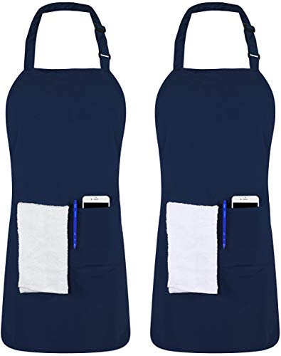 Utopia Kitchen 2 Pack Adjustable Bib Apron with 2 Pockets 32 x 28 Inches, Blue