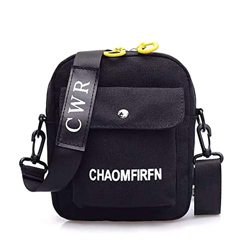 Mdsfe Zipper Messenger Messenger Bags Frauen Umhängetasche Mode Pure Color Casual Tote Outdoor-Tasche Canvas Handtasche Sack Haupt für Femme - Schwarz