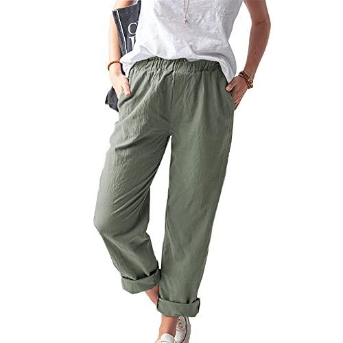 Shujin Pantalones de verano ligeros para mujer, de algodón, 7/8 de longitud, cintura alta, pantalones harén, elásticos, cómodos pantalones de playa, pantalones de ocio A verde militar. L
