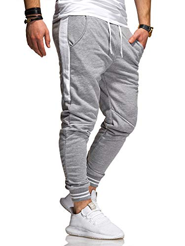 behype. Herren Lange Trainingshose Jogging-Hose Sport-Hose Kontrast-Stripes 60-3171 Hellgrau-Weiß XL