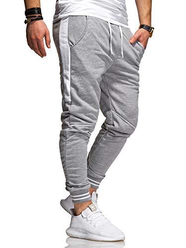 behype. Herren Lange Trainingshose Jogging-Hose Sport-Hose Kontrast-Stripes 60-3171 Hellgrau-Weiß XXL