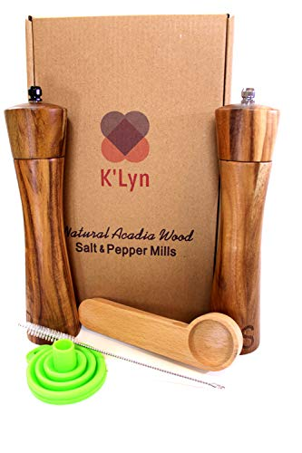 Wooden Salt and Pepper Grinder Set, Salt and Pepper Mill with Bonus Wooden Spoon, Funnel, Cleaning Brush, Manual Acadia Wood, 8 Inch, Set of 2