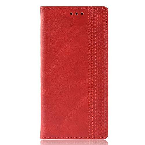 Sinyunron Klapphülle Handyhülle für Motorola Moto Z4 Hülle Leder Handytasche,Flip Lederhülle Schutzhülle Hülle Cover,Klappbar PU Ledertasche Brieftasche mit Kartenfach Geld Slot,Rot