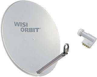 WISI Satellitenschüssel Set in Lichtgrau – 80cm Offset Antenne OA38G und Quad Switch LNB mit 40mm LNB Halterung, Feedarm, Mastschellen und Montagezubehör – Komplettpaket für 4 Teilnehmer