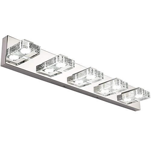 SOLFART 5 Lights 31.5 Inches Modern Glass Stainless Steel Vanity Light Over Mirror Long Bathroom Lighting Fixtures LED Vanity Light