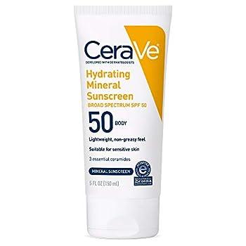 CeraVe 100% Mineral Sunscreen SPF 50 | Body Sunscreen with Zinc Oxide & Titanium Dioxide for Sensitive Skin | 5 oz 1 Pack