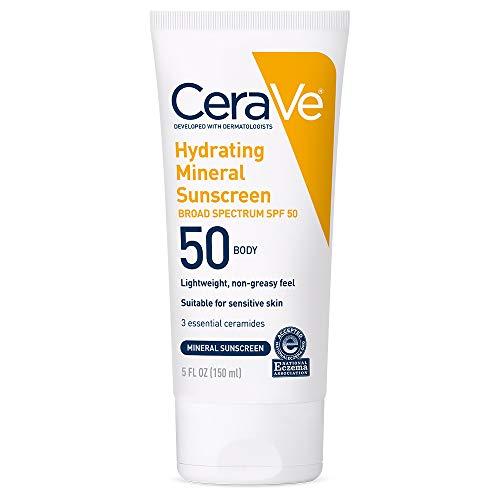 CeraVe 100% Mineral Sunscreen SPF 50 | Body Sunscreen with Zinc Oxide & Titanium Dioxide for Sensitive Skin | 5 oz, 1 Pack