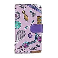 スマホケース シンプルスマホ5 A001SH カード収納 スタンド機能 付き 手帳型 ケース SHARP シャープ シンプルスマホファイブ SoftBank (B.パープル) スポーツ 手書きイラスト ビンテージ 卓球 スケート スマ通 vd-0480