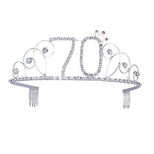 Frcolor - Corona di compleanno per festeggiare i 70anni, con vetro e pettinini, color argento