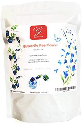 Amazon Com Good Active Dried Blue Butterfly Pea Flower Tea 100 Clitoria Ternatea Flowers Herbs Herbal Healthy Tea Drink Recipes Food Coloring Antioxidants Aging 100g Grocery Gourmet Food