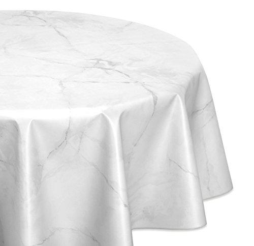 BEAUTEX Wachstuchtischdecke abwischbar, OVAL RUND ECKIG, fleckenabweisende Gartentischdecke Marmorstein, zuschneidbare Wachstuch Tischdecke (Oval 140x180 cm, Weiß)