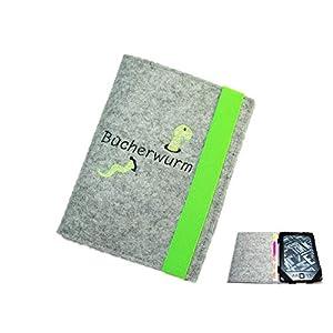 aufklappbare eBook Reader eReader Hülle Bücherwurm inkl. Stickerei, Maßanfertigung z.B. für Tolino Shine 3 Tolino Vision…