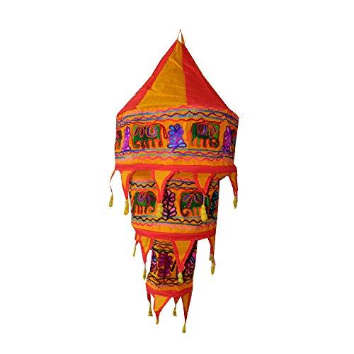 IB Indischer Lampenschirm Elefant Blume 75cm rot orange Baumwolle Dekolampe Orient Hängelampe