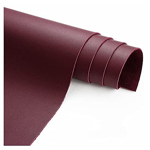wangk Tela de Cuero Tela por Metros de Polipiel para tapizar Manualidades de Polipiel para tapizarpara tapizar, Manualidades, Cojines o forrar Objetos-Vino Tinto 1.38x5m