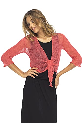 Back From Bali Womens Lightweight Knit Cardigan Shrug Lite Sheer Coral