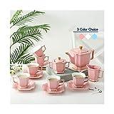 NAFE - Juego de café europeo de cerámica de 15 piezas, set de café moderno, set de té de la tarde, té de la tarde, familia, boda, cumpleaños, regalo elegante y simple, color rosa