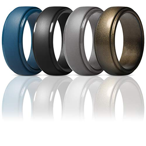 ThunderFit Silicone Rings for Men - 4 Rings Step Edge Rubber Wedding Bands 10mm Wide - 2.5mm Thick (Dark Blue, Black, Brass, Men Bronze, 13.5-14 (23mm))