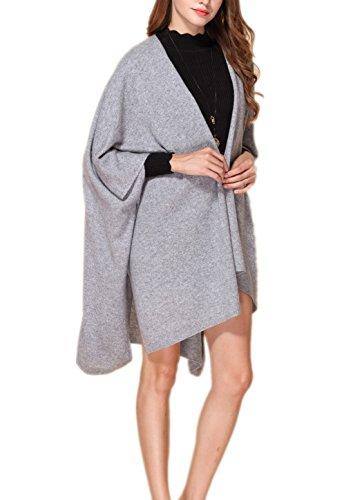 Prettystern - 100% Kaschmir einfarbig Poncho Stola Schal für Damen warm kuschelig weich mit Knöpfen, Grau - Einheitsgröße