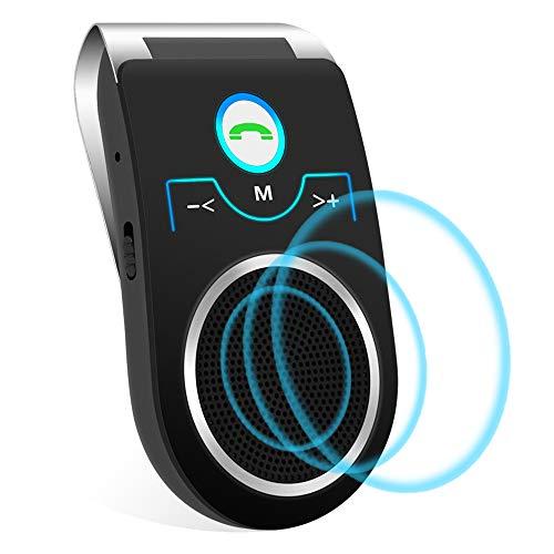 Aigoss Kit Main Libre Bluetooth pour Voiture avec Siri et Google Assistant de Haut-Parleur sans Fil pour Visière Support du GPS, Musique, compatibles Tous téléphones